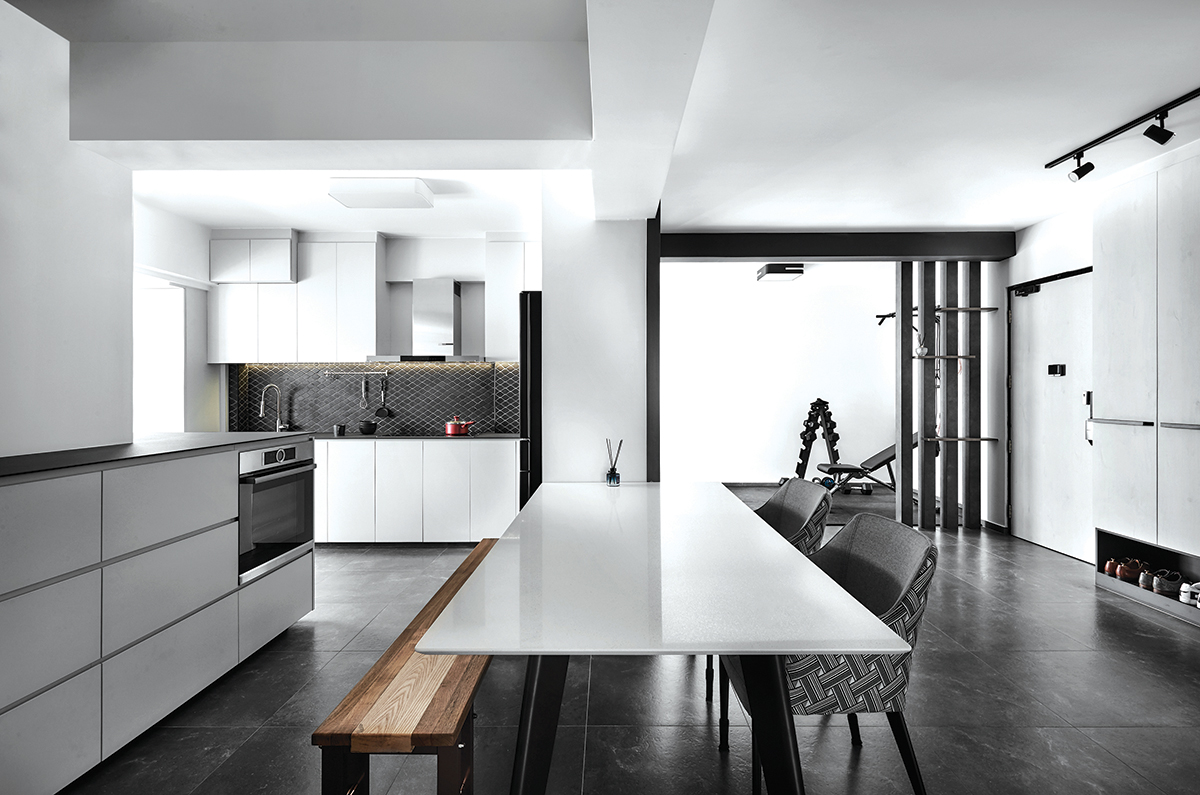 squarerooms blend by imc home hdb flat 5 room redesign renovation makeover style look modern black and white dining room area wood bench