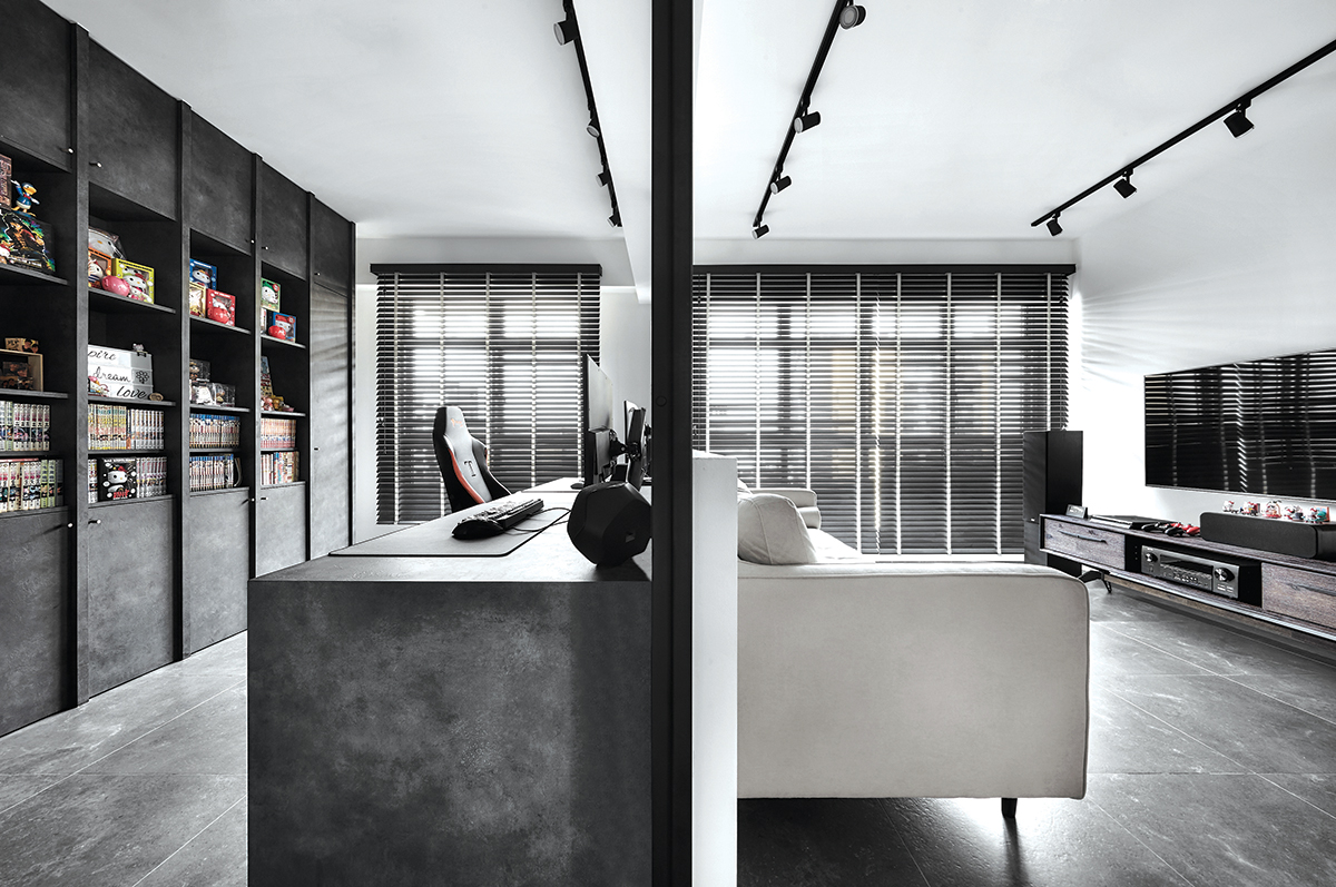 squarerooms blend by imc home hdb flat 5 room redesign renovation makeover style look modern black and white living room office study