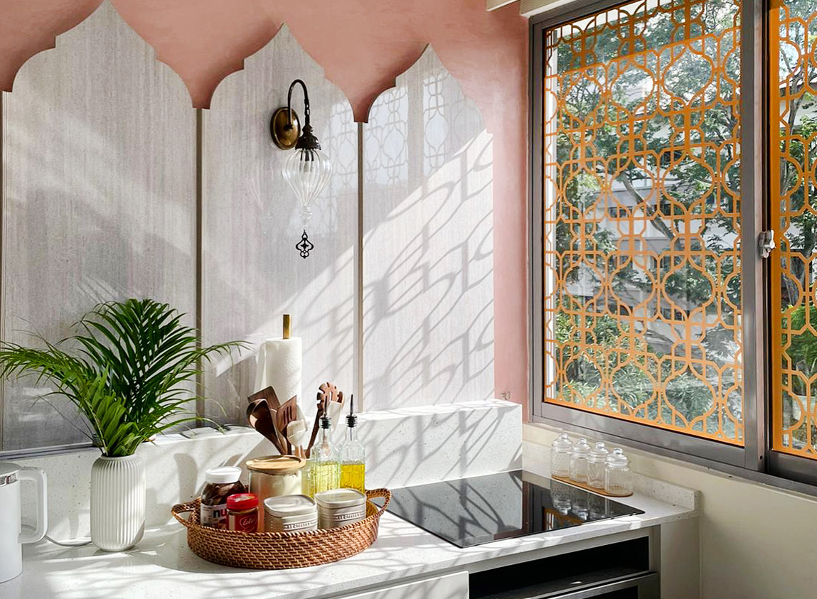 squarerooms maximalism maximalist home design look inspo inspiration interior ideas style decor facelift design interiors moroccan inspired arches patterned window treatment backsplash curves shapes pink wall