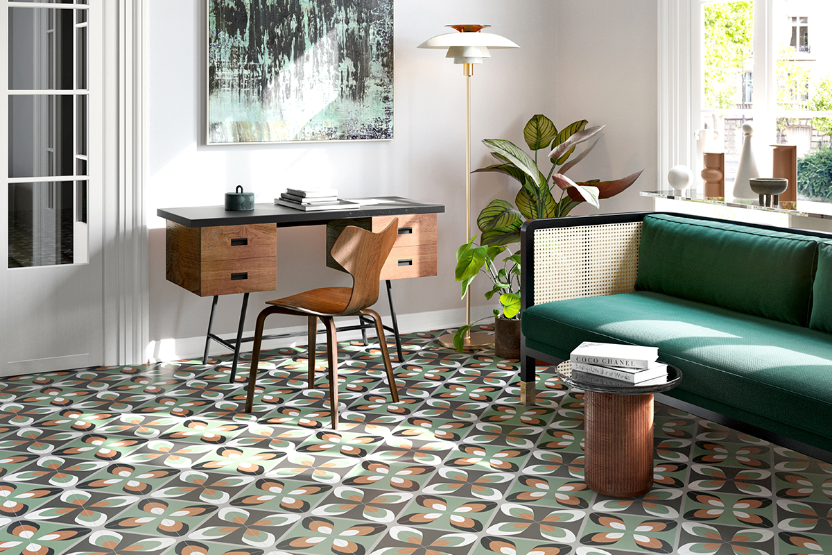 squarerooms maximalism maximalist home design look inspo inspiration interior ideas style decor soon bee huat sbh floor tiles pattern living room green couch sofa
