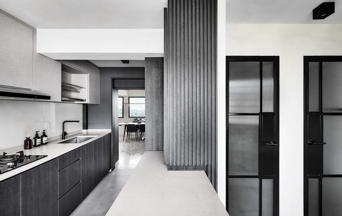 squarerooms happe design atelier home renovation 4 room resale hdb flat modern design makeover open concept kitchen space grey black and white monochromatic