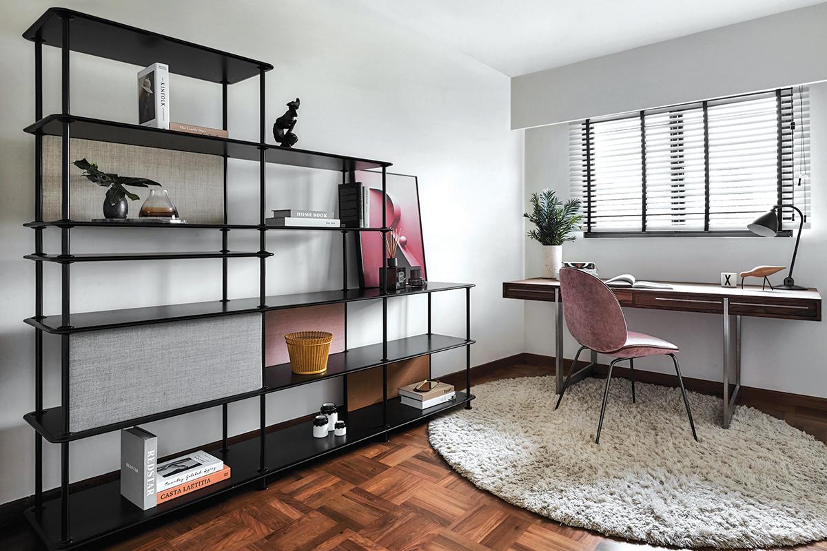 squarerooms happe design atelier home renovation 4 room resale hdb flat modern design makeover study office desk room area wood floors