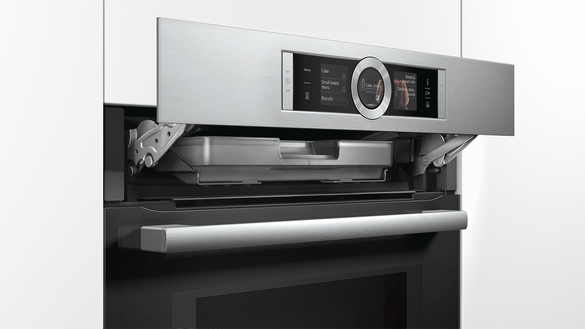 squarerooms bosch built in self cleaning oven serie 8 HNG6764S1A black silver metal sleek
