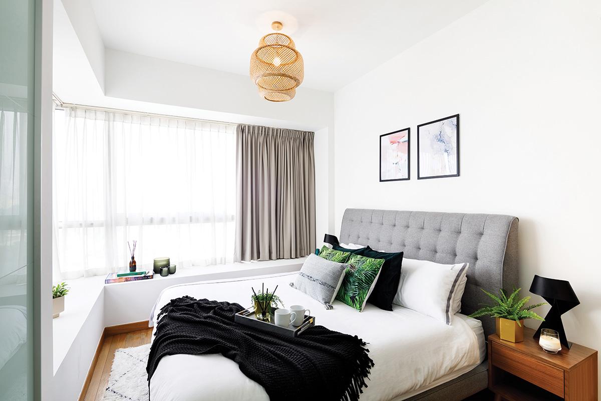 squarerooms home philosophy mid century modern contemporary design makeover style look resale condominium bedroom white cosy minimalist