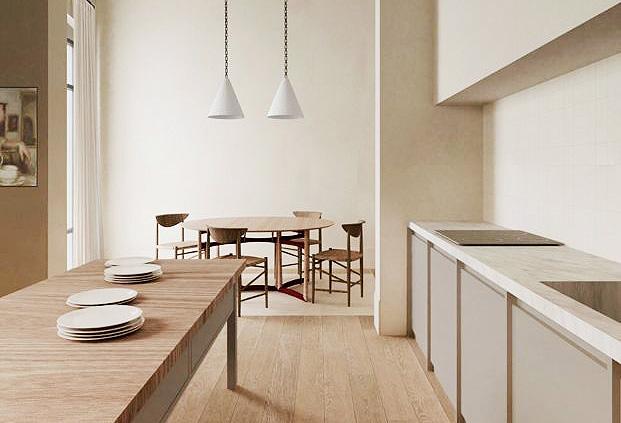 squarerooms Burondo desert neutral aesthetic dining room kitchen open space wood