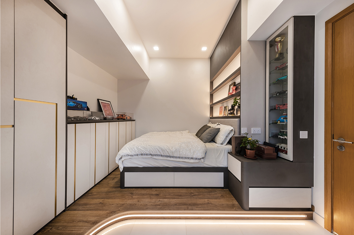 squarerooms noble interior design landed property house renovation makeover look style bedroom wood floors cosy modern contemporary white rounded light monochrome monochromatic