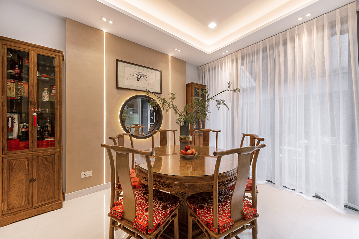 squarerooms noble interior design landed property house renovation makeover look style dining room traditional chinese red wood furniture white floors round hole in the wall