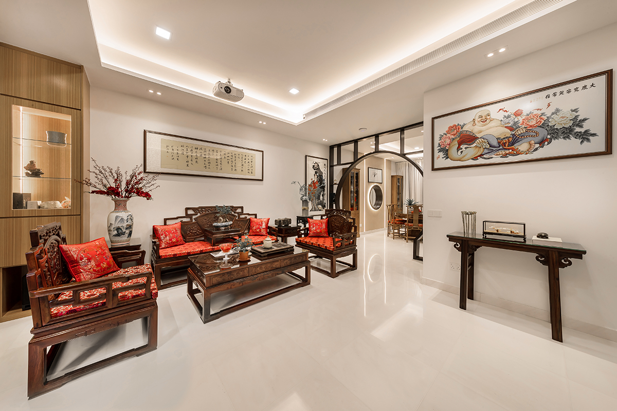 squarerooms noble interior design landed property house renovation makeover look style traditional chinese red wood furniture white floors living room