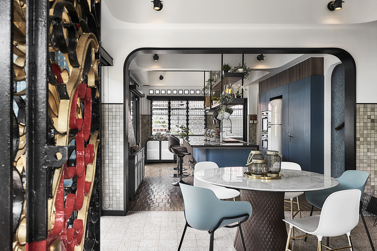 squarerooms akiHAUS singapore local home renovation interior design makeover look style blue modern dining area room arched curved rounded entrance open space concept