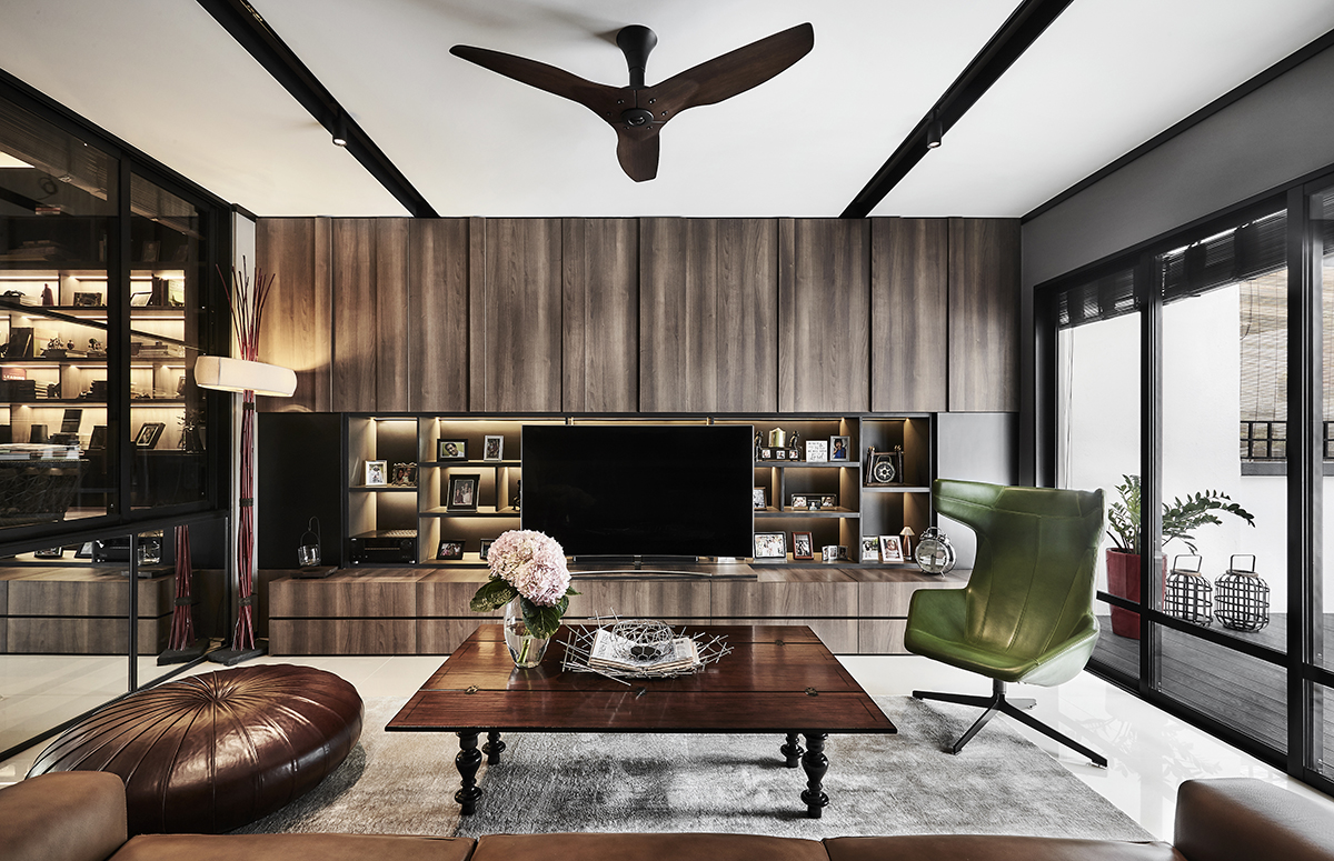 squarerooms akiHAUS singapore local home renovation interior design makeover look style living room wood feature wall tv planks moody rustic