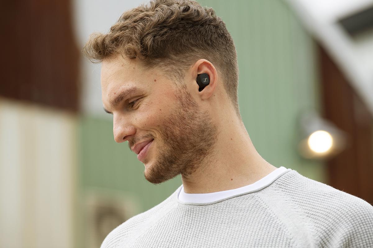 squarerooms sennheiser cx plus true wireless earphones earbuds new launch release man wearing black