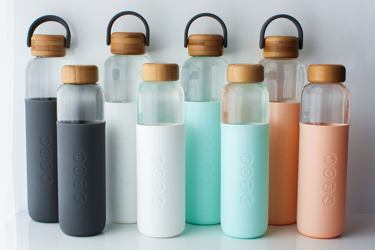 squarerooms water bottles soma pastel silicone sleeve wood bamboo cap sustainable water glass