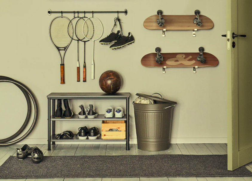 squarerooms home gym ikea storage bench shoes black grey wall mounted hooks storage equipment