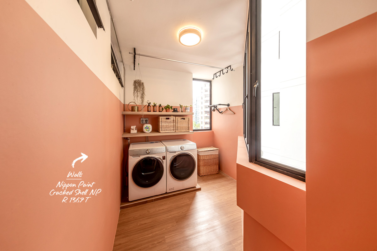 squarerooms swiss interior home renovation 4A 4 room hdb resale flat eclectic style design look makeover cosy peach salmon wall laundry room service yard cute lively warm inviting tones white half paint