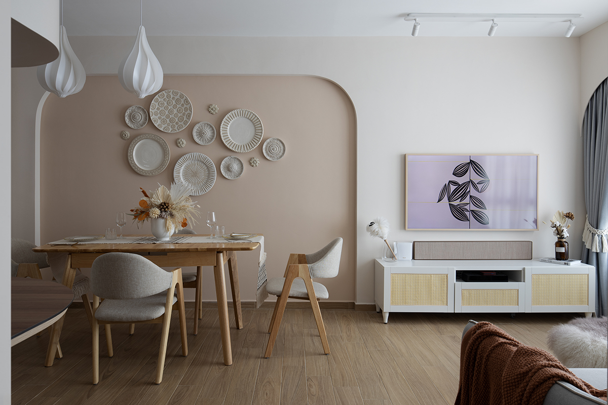 squarerooms abcd home renovation 4 room hdb flat scandi cosy cute pastel pink design makeover living dining room area feature wall decor plates rounded curved