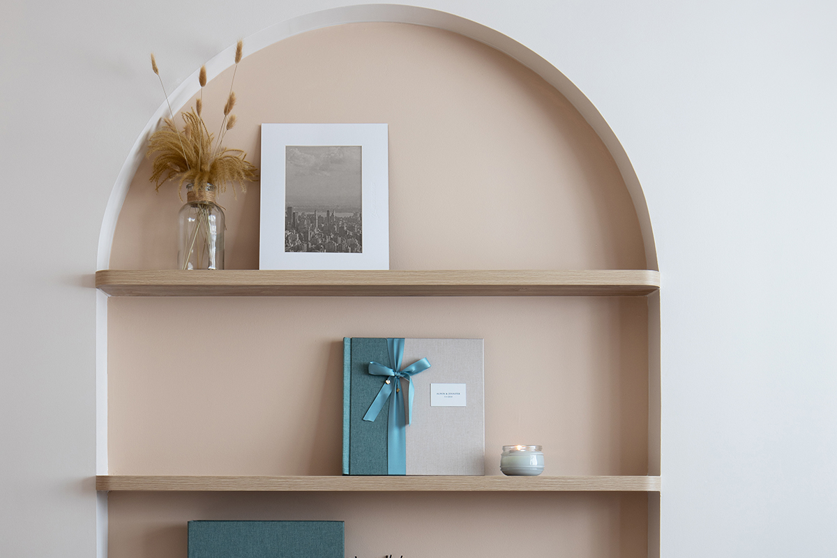 squarerooms abcd home renovation 4 room hdb flat scandi cosy cute pastel pink design makeover shelf storage rounded curved niche