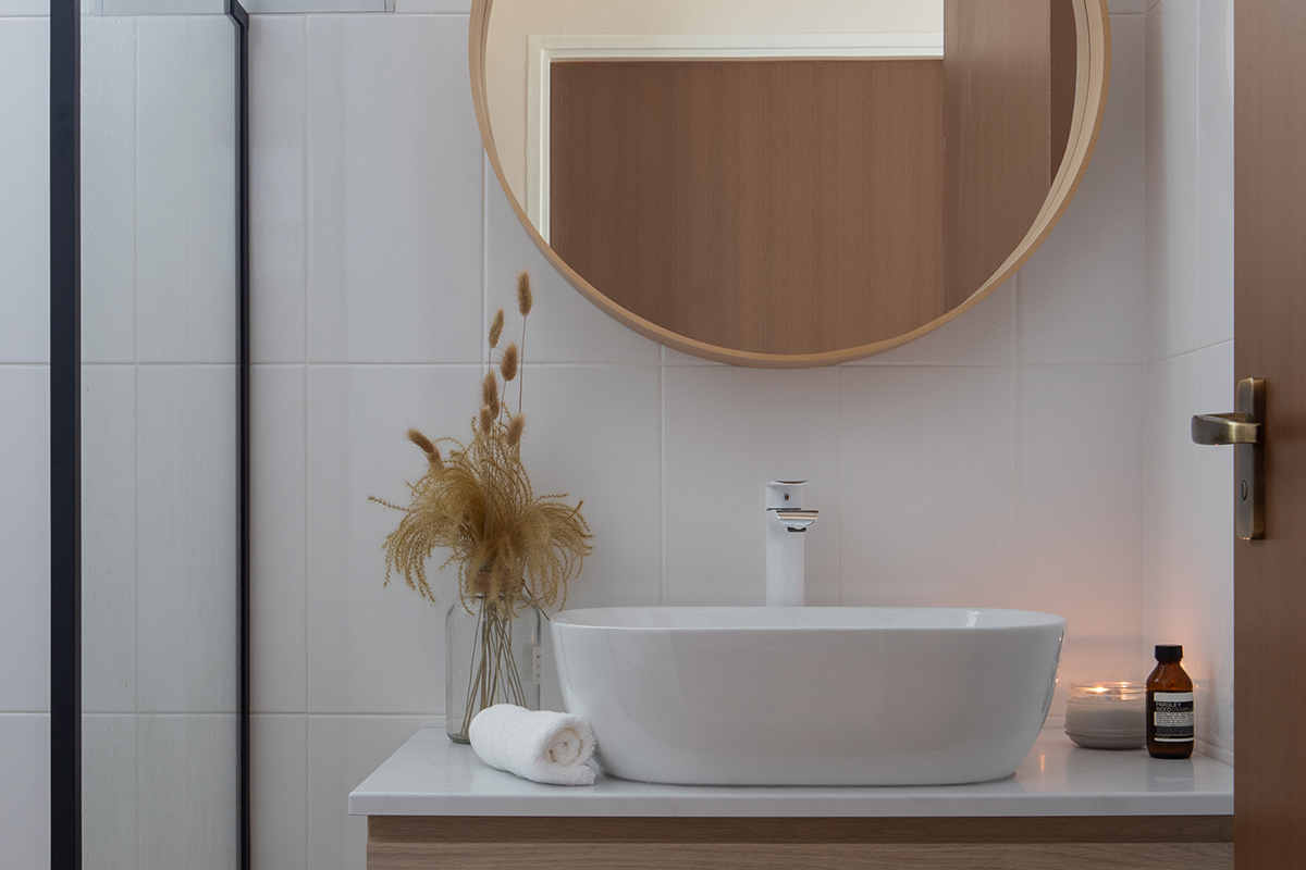 squarerooms abcd home renovation 4 room hdb flat scandi cosy cute pastel pink design makeover bathroom wood scandinavian mirror countertop sink
