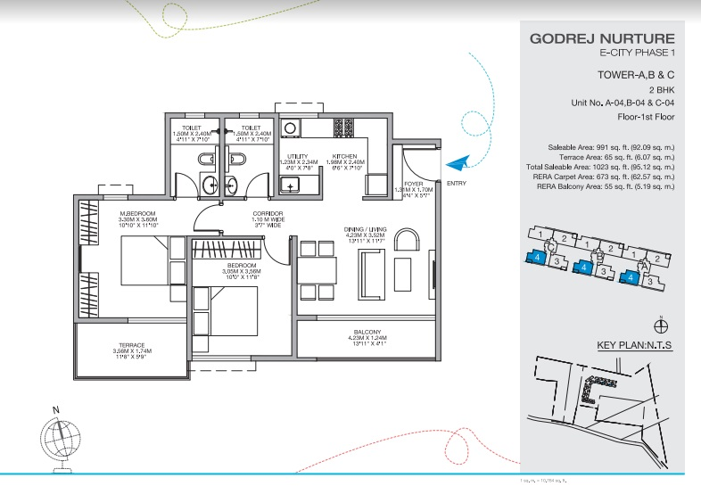 2 BHK + Pooja Room 991 Sq.Ft. Apartment in Godrej Nurture Electronic City