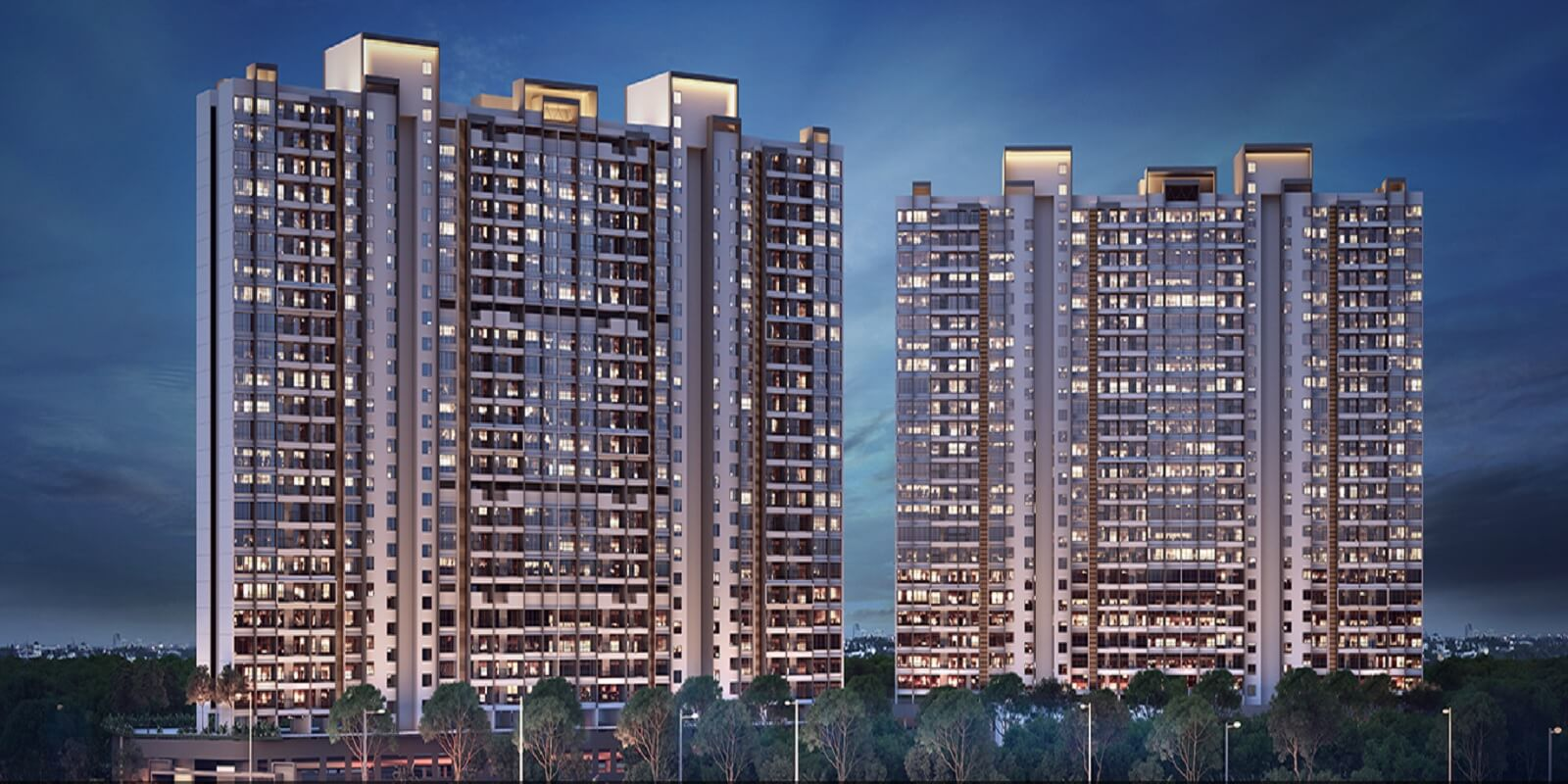 2 BHK 891 Sq.Ft. Apartment in Paranjape Trident Towers