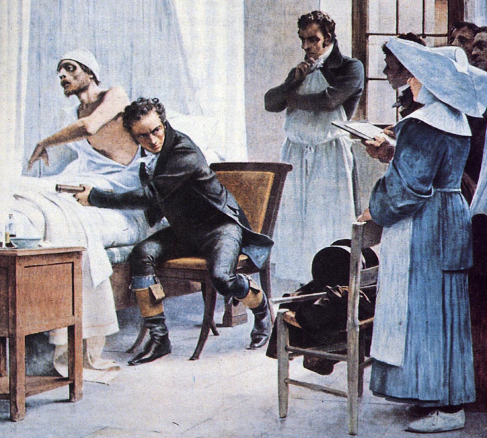 Imagine for a moment the year 1800. A doctor is meeting with a patient – most likely in the patient's home. The patient is complaining about shortness of breath. A cough, a fever. The doctor might check the patient's pulse or feel their belly, but unlike today, what's happening inside of the patient's body is basically unknowable. There's no MRI. No X-rays. The living body is like a black box that can't be opened.    The only way for a doctor to figure out what was wrong with a patient was to ask them, and as a result patients' accounts of their symptoms were seen as diseases in themselves. While today a fever is seen as a symptom of some underlying disease like the flu, back then the fever was essentially regarded as the disease itself.         But in the early 1800s, an invention came along that changed everything. Suddenly the doctor could clearly hear what was happening inside the body. The heart, the lungs, the breath. This revolutionary device was the stethoscope.    The inventor of the stethoscope was a French doctor named René Laennec. In medical school, he had learned to practice percussion – a technique in which doctors tap their fingers against a patient's chest and listen to the sound to try and hear what's going on inside.         One day, he tried percussing a patient but had trouble hearing. So he rolled up his notebook into a little cylinder and put one end on the patient's chest and one end in his ear. He was so impressed by the quality of the sound that he decided to construct a device for listening to the internal sounds of the body.    The result was the original stethoscope. Laennec had invented a way to hear the inner workings of the human body. Now he needed to connect the sounds he was hearing with what was happening anatomically inside the patient's body.         To do this, Laennec listened to people right before they died, and then connected these sounds to discoveries made during the autopsy. Soon, Laennec made some key discoveries using 