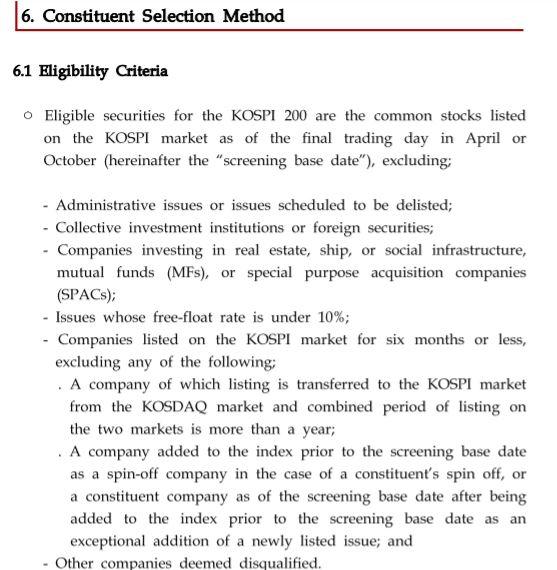 Kospi200 criteria