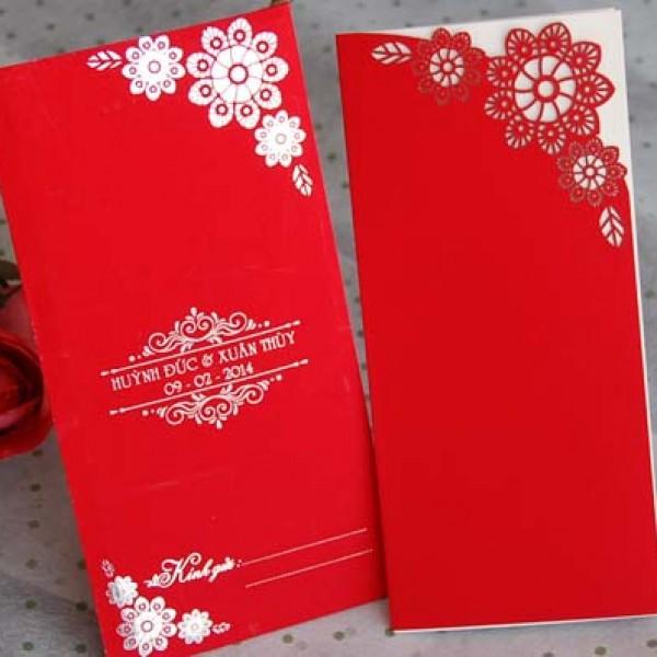 Thiệp cưới cắt laze đỏ nhung