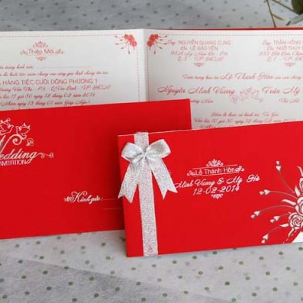 Thiệp cưới đỏ nhung DQ1402