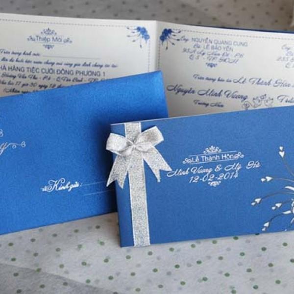 Thiệp cưới xanh dương DQ 1402