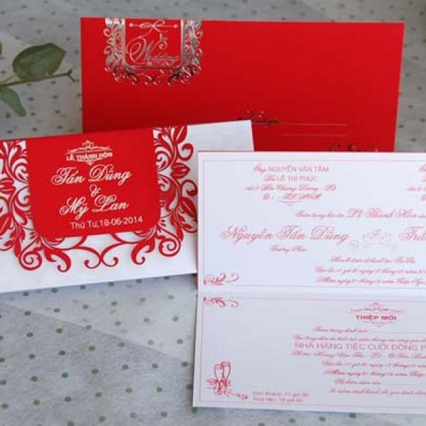 Thiệp cưới đỏ nhung DQ 1403