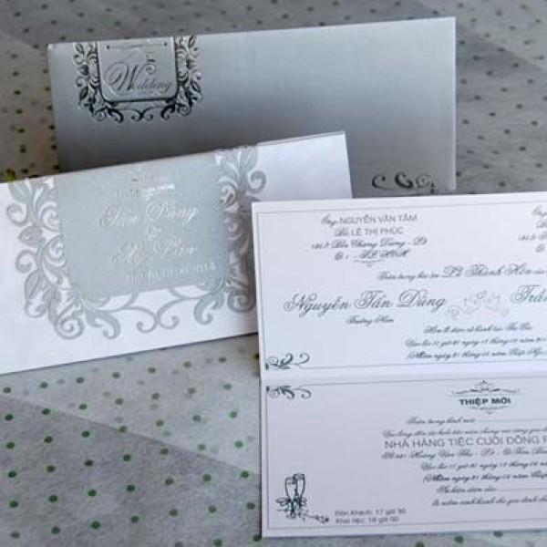 Thiệp cưới bạc nhũ DQ 1403