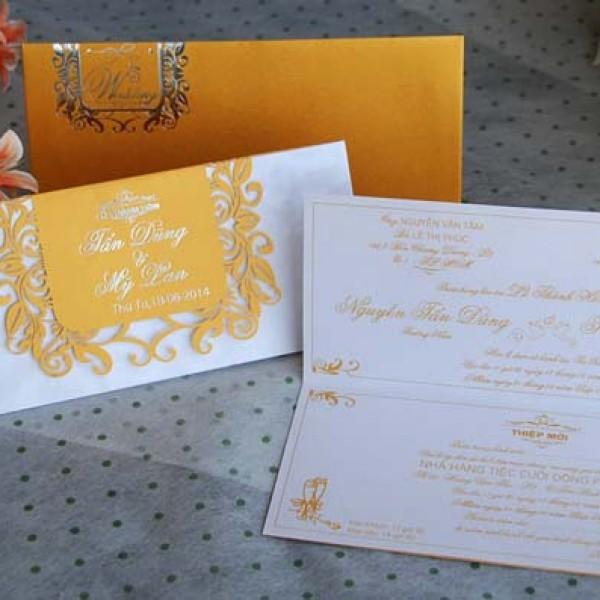 Thiệp cưới vàng nhũ DQ 1403