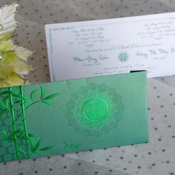 Thiệp cưới 3D xanh rêu DQ 1408