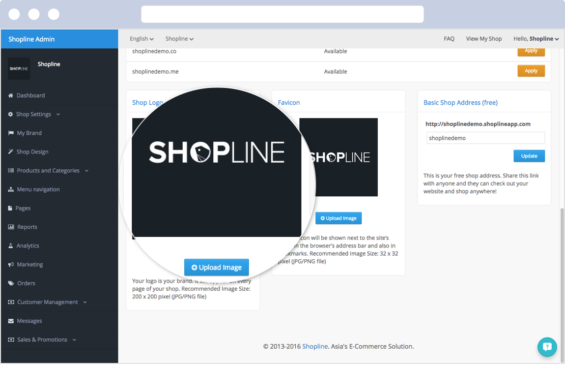 Merchants can upload your own shop logo at Shopline's admin panel.