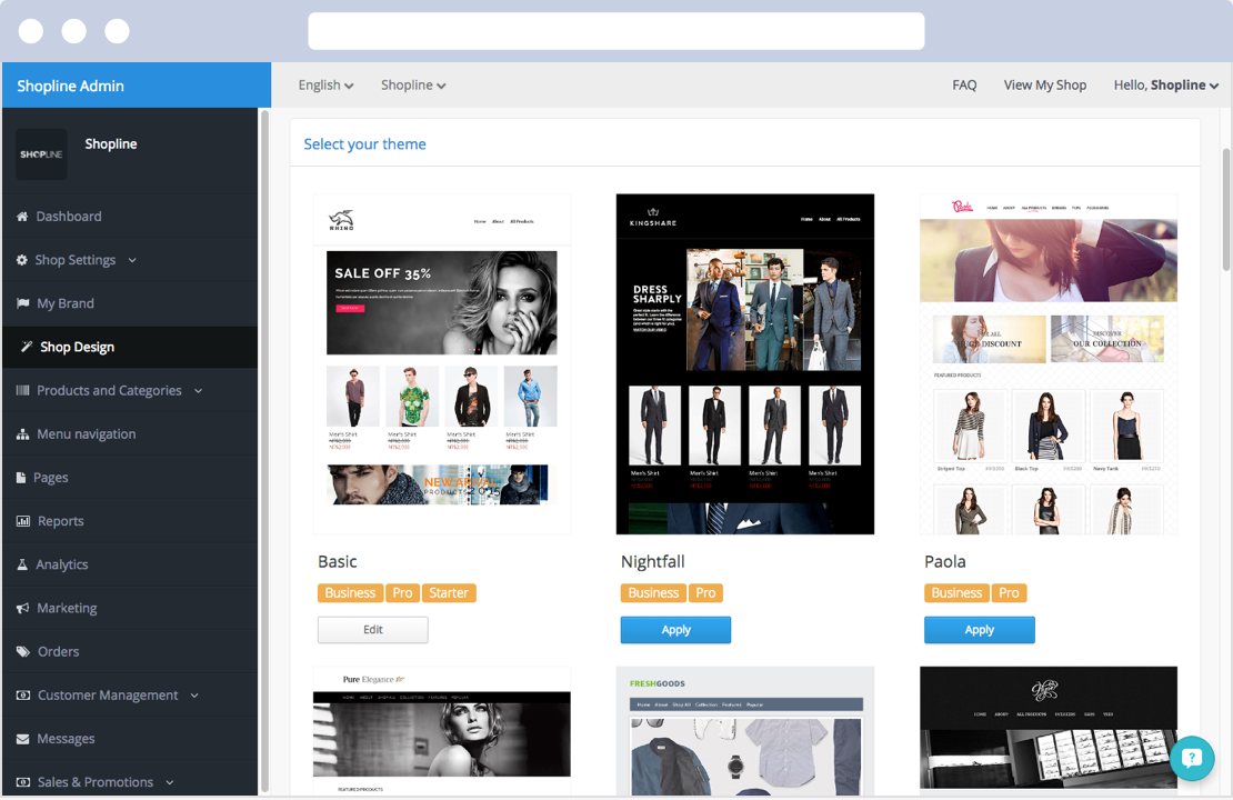 There are 19 theme for merchants to choose from at SHOPLINE's admin panel.