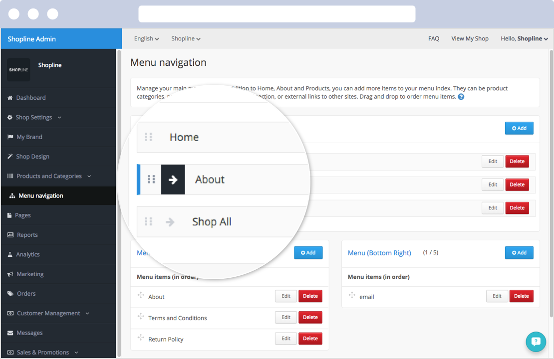 Merchants can adjust the sequences of pages, product categories and menu categories at SHOPLINE's admin panel.