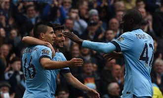 HALF-TIME: Man City lead 2-0 with goals from Aguero and an own goal from Collins