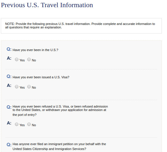 Previous US Travel Information