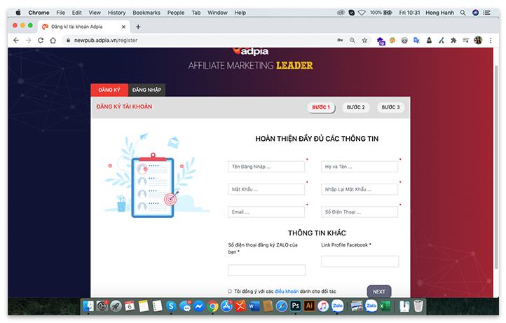 Đăng ký tài khoản tiếp thị liên kết affiliate marketing trên ADPIA