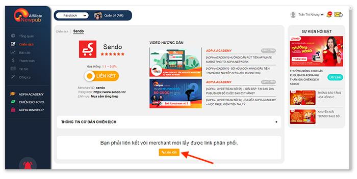 Lựa chọn chiến dịch affiliate Sendo, liên kết để được phân phối link