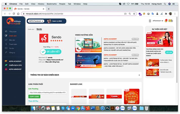 Hướng dẫn lấy link affiliate marketing sản phẩm trên Sendo