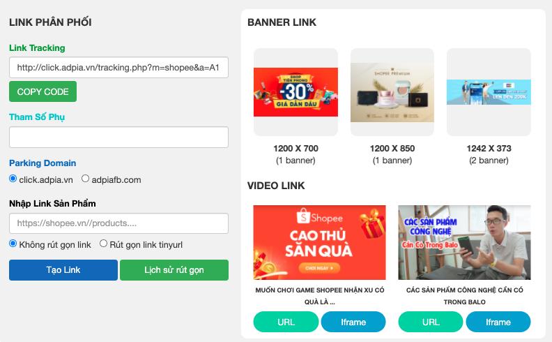 hướng dẫn lấy link affiliate