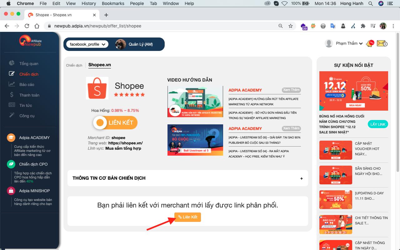 đăng ký affiliate marketing