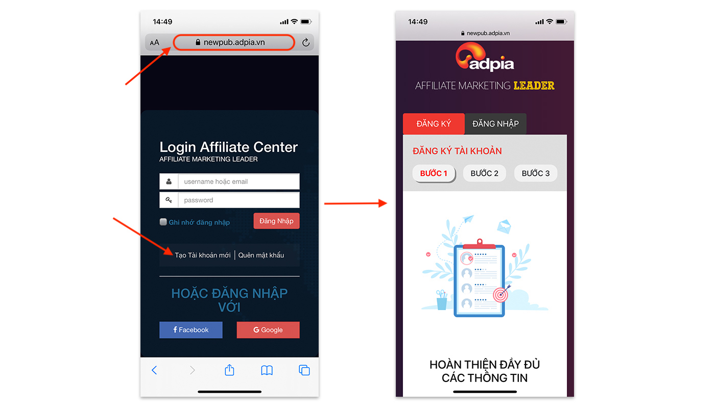 Hướng dẫn đăng ký tài khoản affiliate marketing trên di động