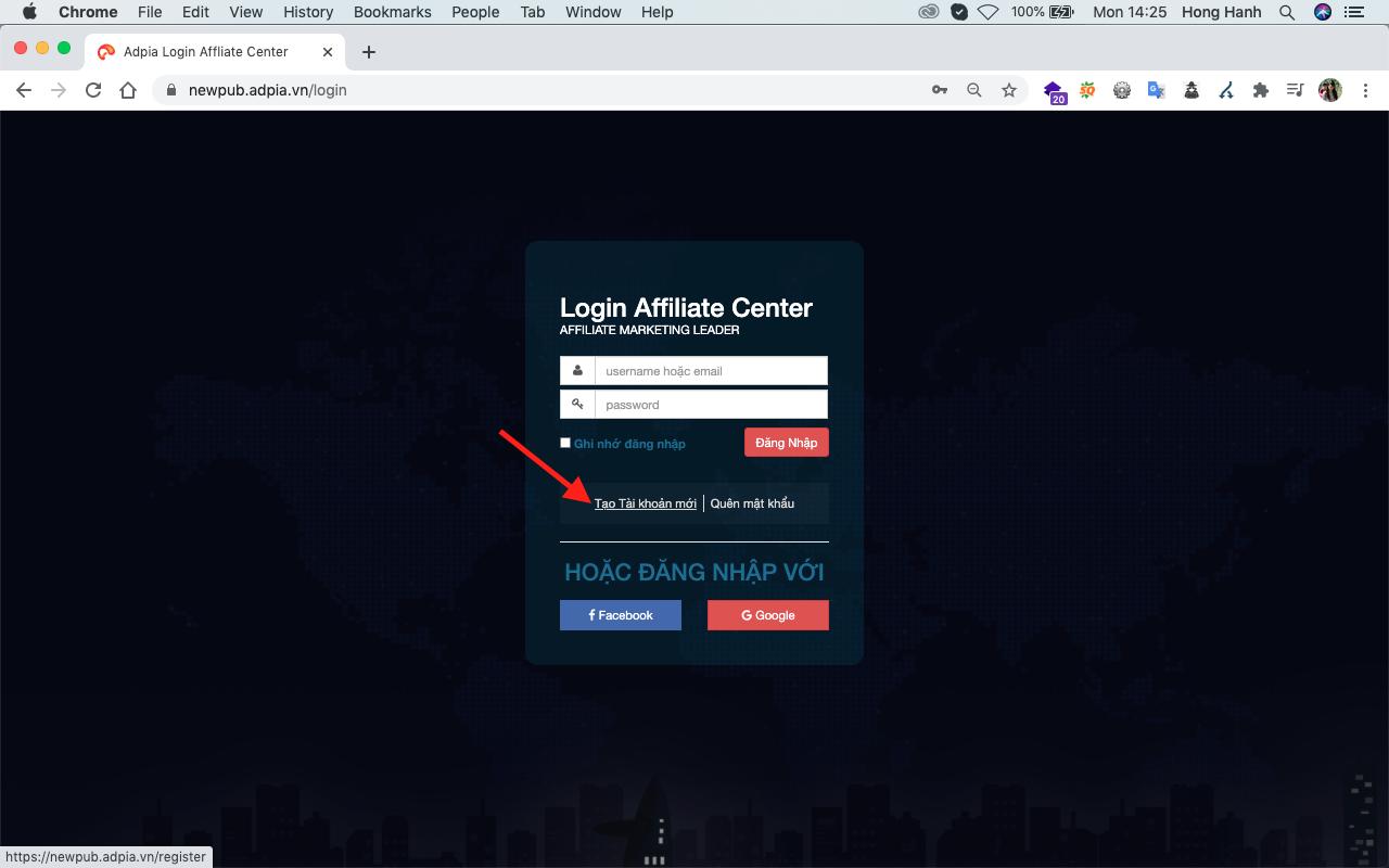 đăng ký affiliate marketing adpia