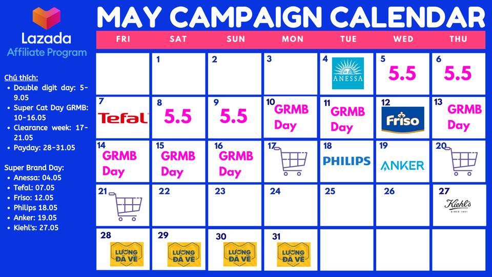 lịch khuyến mãi tháng 5