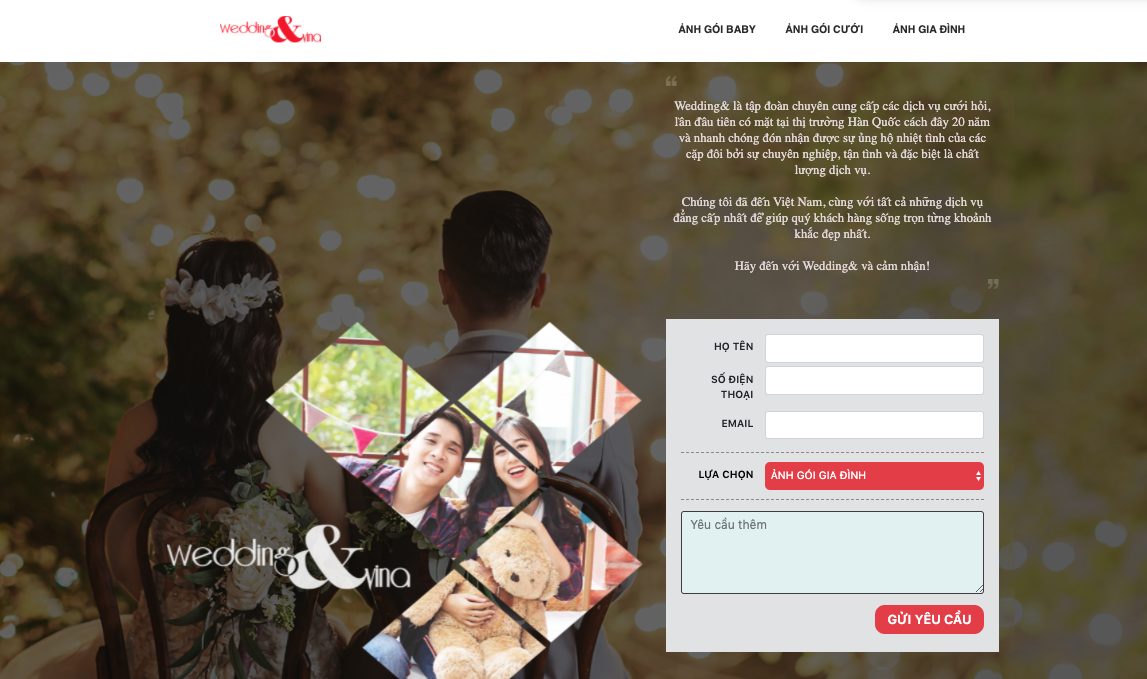 Landing page của chiến dịch CPO Weddingn