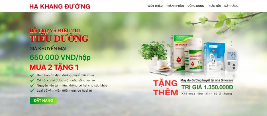 Landing page của chiến dịch CPO Hạ Khang Đường