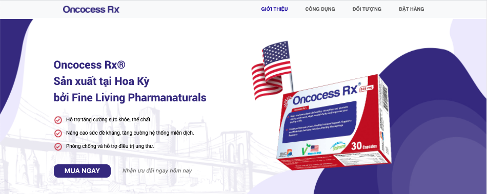 Landing page của chiến dịch CPO Oncocess Rx