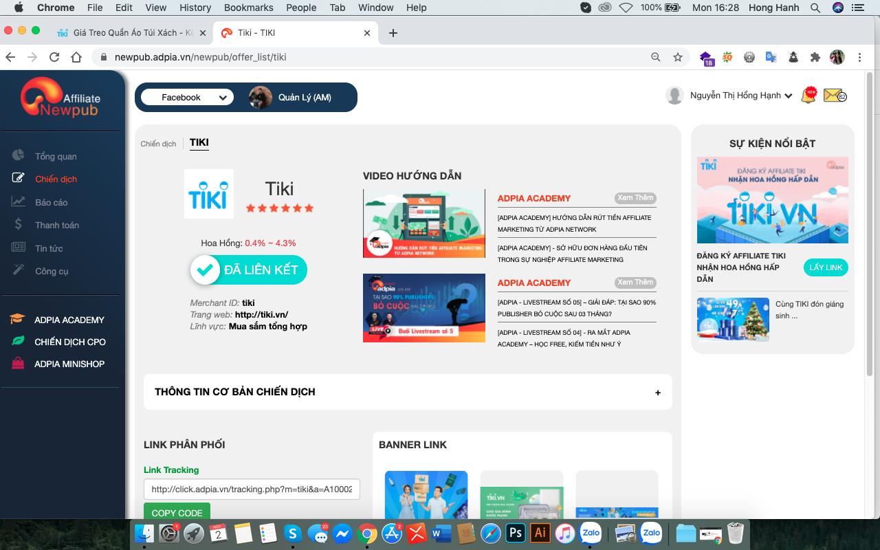 Hướng dẫn cách lấy link affiliate tiki