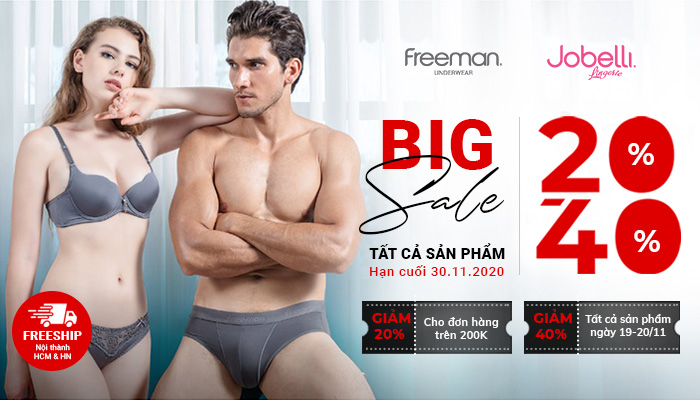 Khuyến mãi BIG SALE 20% - 40% tất cả sản phẩm FREEMAN